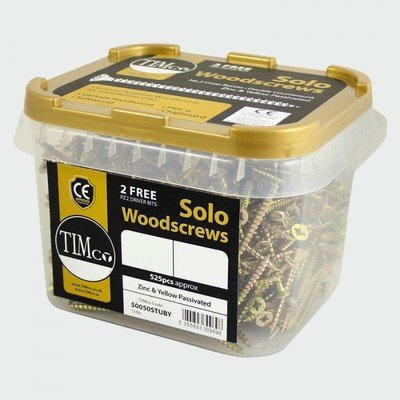 4.0 x 50mm Countersunk Pozi Wood Screws  Zinc & Yellow (Tub of 800)