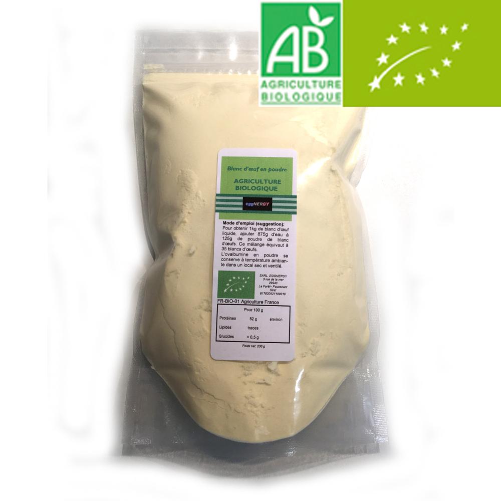 Blanc d'œuf bio poudre (Nature, Fraise, Cacao ou Vanille) 200 g
