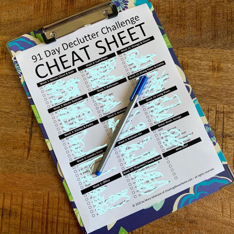 Declutter Challenge: Printable CHEAT SHEET Download
