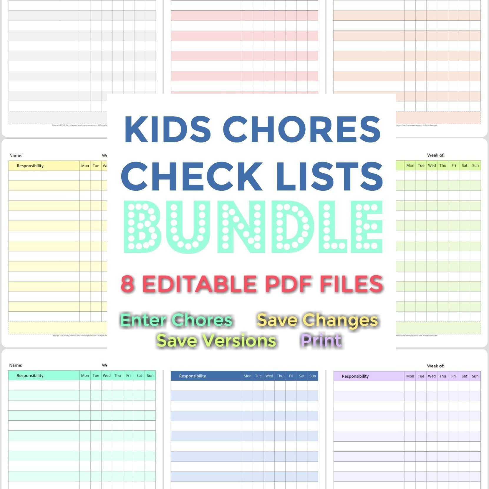 Kids Chore List Bundle (NEW lists added!) 00062