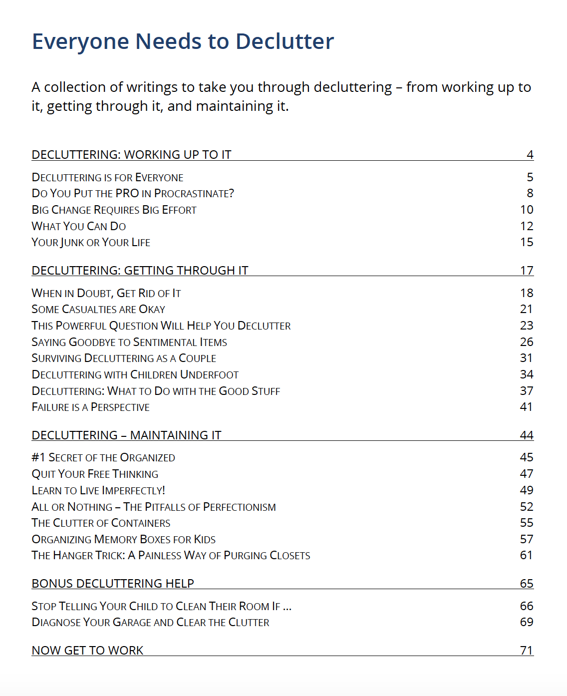 Table of Contents - Tools to help you declutter.