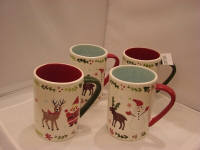 Set of Four Christmas Mugs