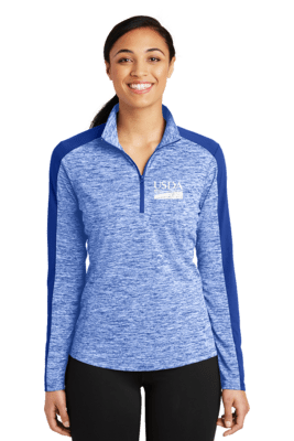 Ladies Electric Heather Color Block 1/4 Zip Pullover