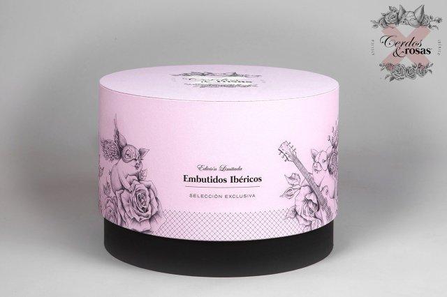 Cerdos y Rosas: Caja sombrerera acabado papel geltex tela CR-CSGT-01