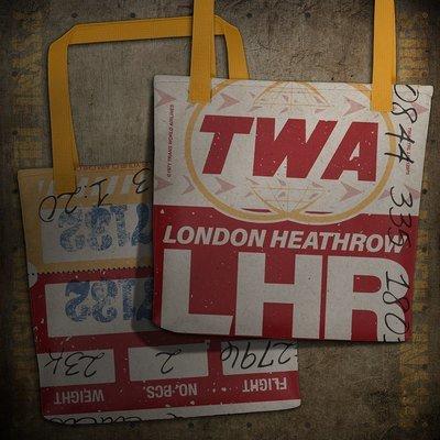 TWA LHR Vintage London Airline Baggage Claim Check Tote Bag