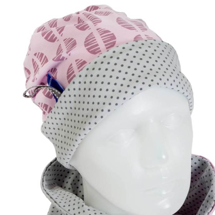 Bonnet fille réversible rose et gris à pois 6-12 ans BP-17007-L