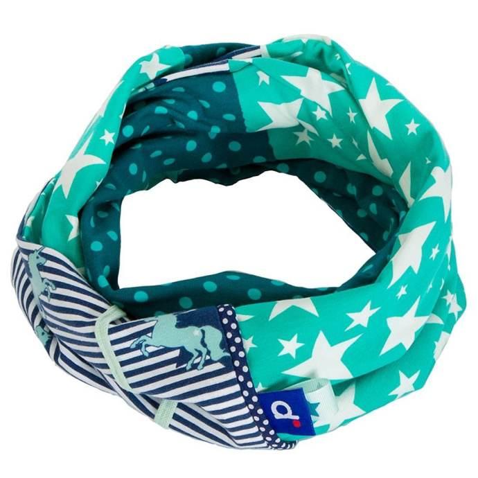 Snood fille double licornes turquoise et étoiles jersey SP-17013-M