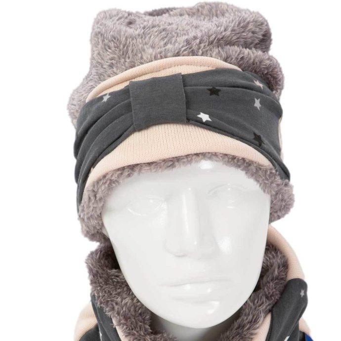 Bonnet fille chaud en polaire 6-12 ans rose et gris BO-18001-L