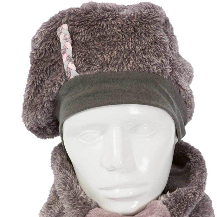 Béret fille chaud et doux 3-6 ans rose et gris BF-18007-M