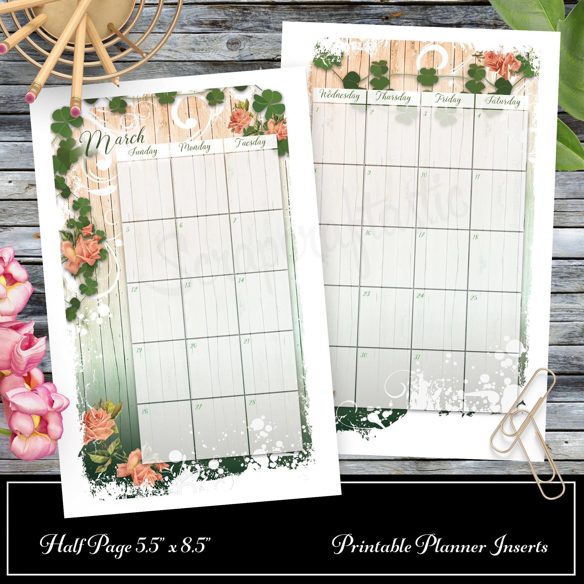 Lucky Wish for Half Page Size Printable Planner Insert 00311