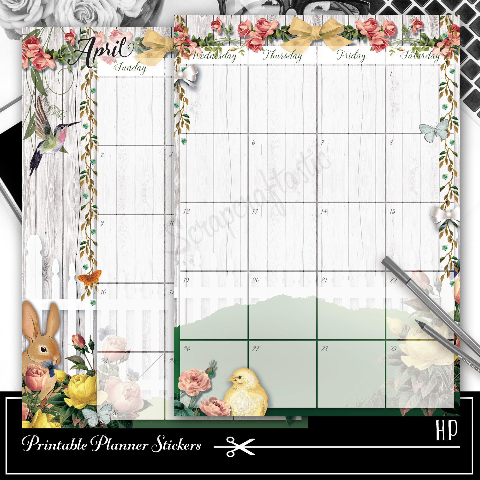 Spring Fest Spread Printable Planner Sticker Overlay for classic size Mambi Happy Planner 01022