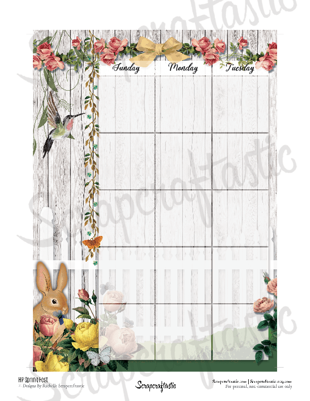 Spring Fest Spread Printable Planner Sticker Overlay for classic size Mambi Happy Planner