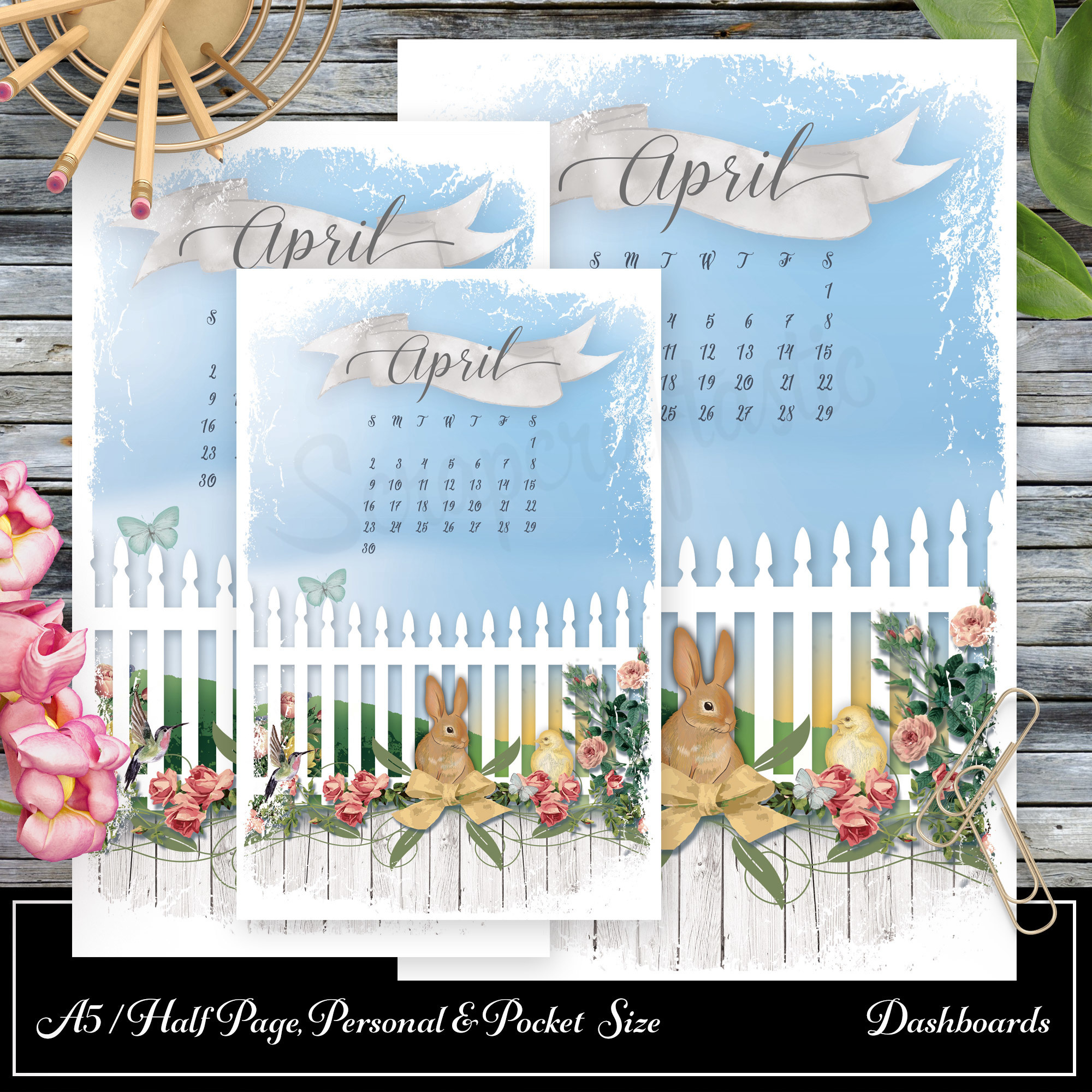 Spring Fest Printable Dashboards - Pocket Size, Personal Size and A5/Half Page Size 05002