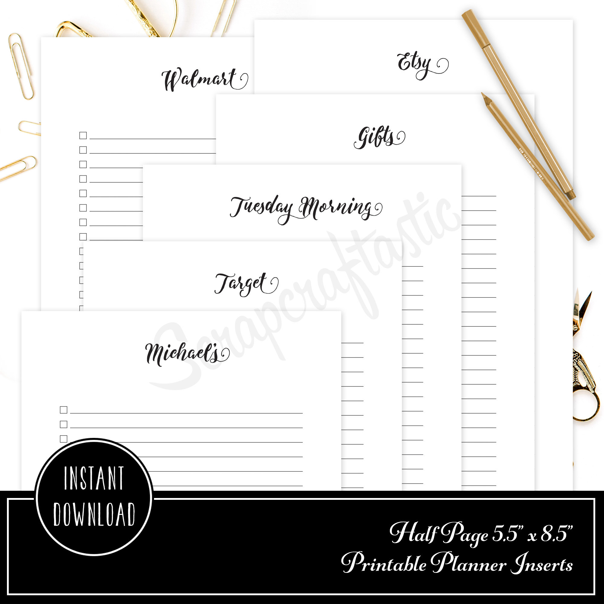 Shopping Check List Half Page/A5 Size Printable Planner Inserts 00312