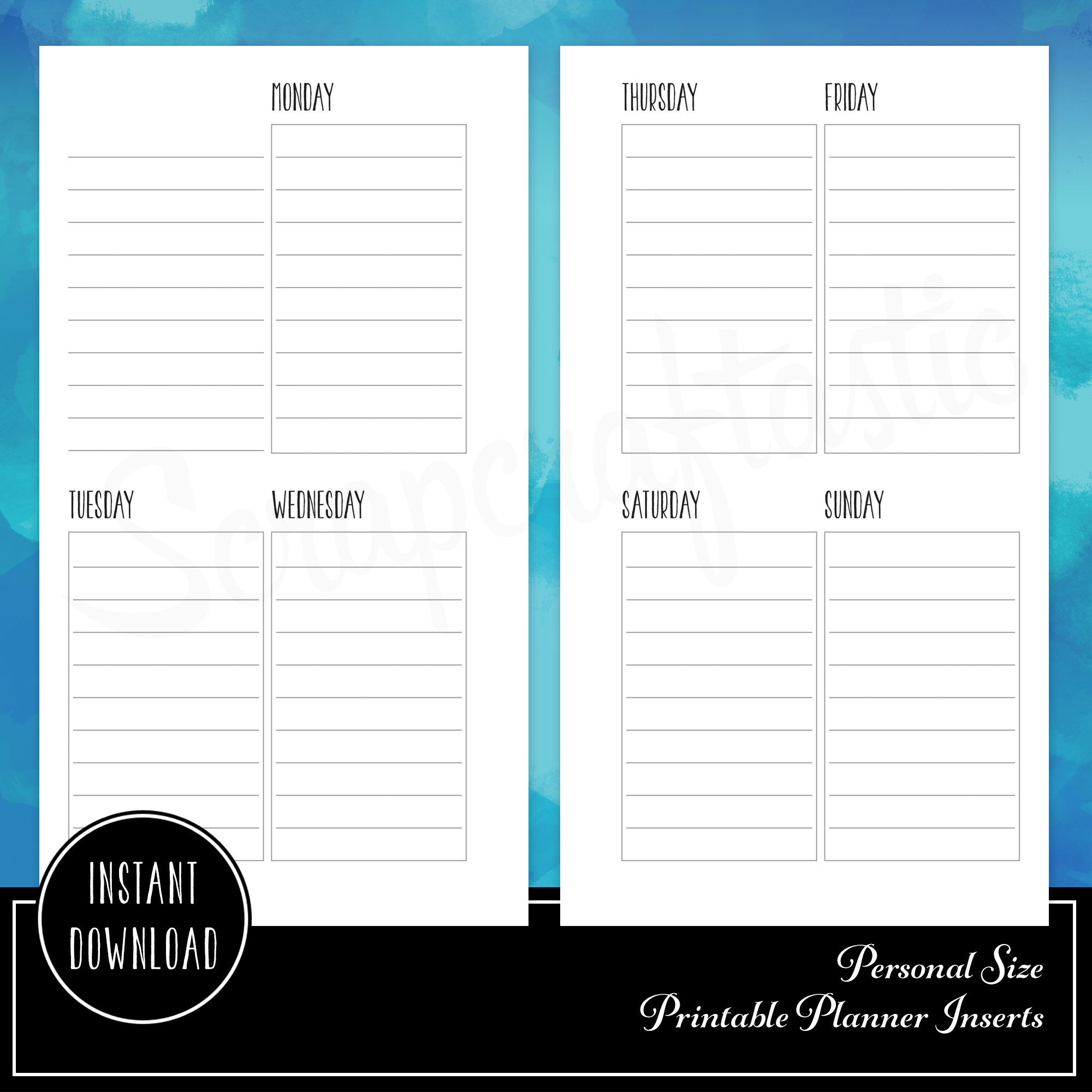 Oversized Lined Full Box Printable Planner Insert Refill Undated WO2P Personal Size