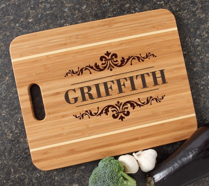 Personalized Cutting Board Engraved 15x12 Handle DESIGN 16 CBA-016