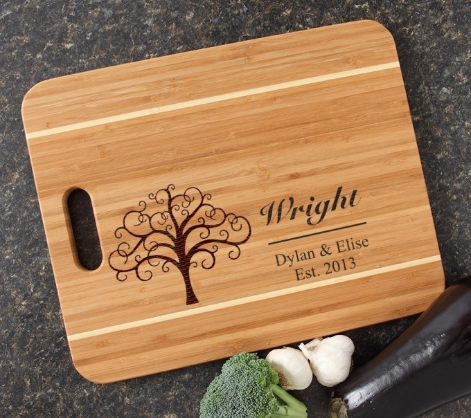 Personalized Cutting Board Engraved 15x12 Handle DESIGN 18 CBA-018