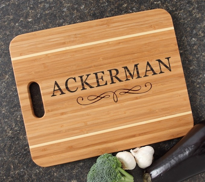 Personalized Cutting Board Engraved 15x12 Handle DESIGN 8 CBA-008