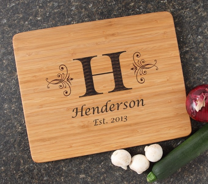 Engraved Bamboo Cutting Board Personalized 15x12 DESIGN 2 CBB-002
