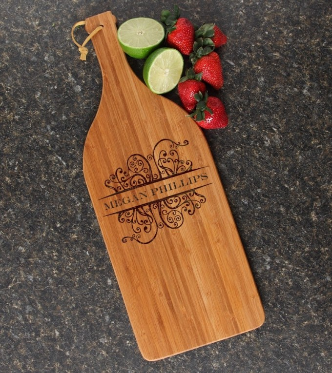 Personalized Cutting Board Engraved Bamboo 16 x 5 DESIGN 4 CBD-004