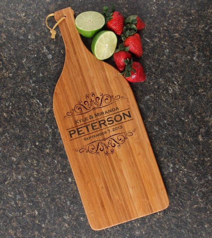 Personalized Cutting Board Engraved Bamboo 16 x 5 DESIGN 7 CBD-007