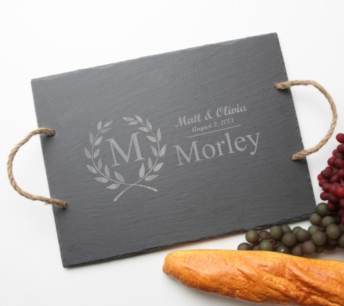 Personalized Slate Serving Tray Rope 15 x 12 DESIGN 6 SST-006