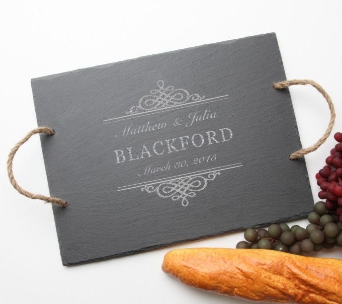 Personalized Slate Serving Tray Rope 15 x 12 DESIGN 14 SST-014