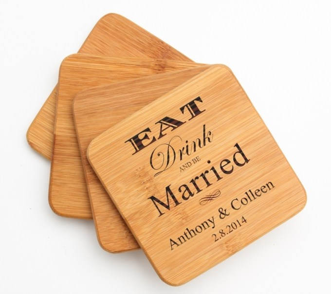 Personalized Bamboo Coasters Engraved Bamboo Coaster Set DESIGN 17 BCS-017