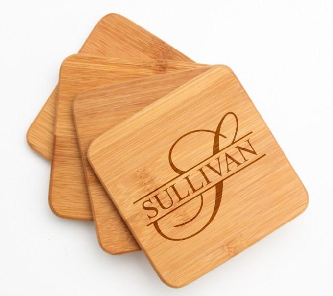 Personalized Bamboo Coasters Engraved Bamboo Coaster Set DESIGN 25 BCS-025