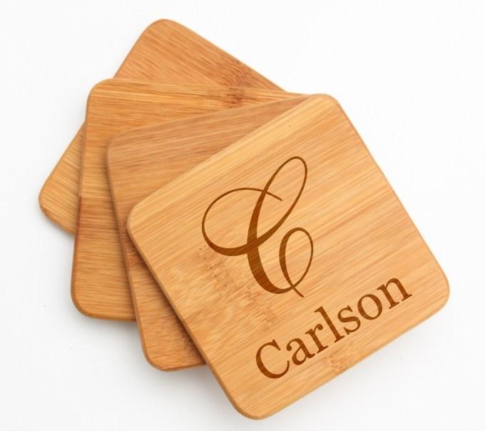 Personalized Bamboo Coasters Engraved Bamboo Coaster Set DESIGN 3 BCS-003