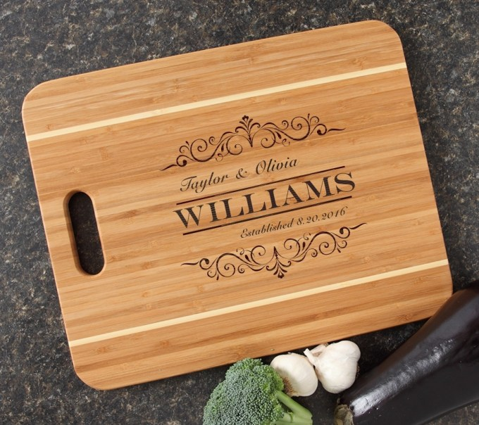 Personalized Cutting Board Engraved 15x12 Handle DESIGN 34 CBA-034