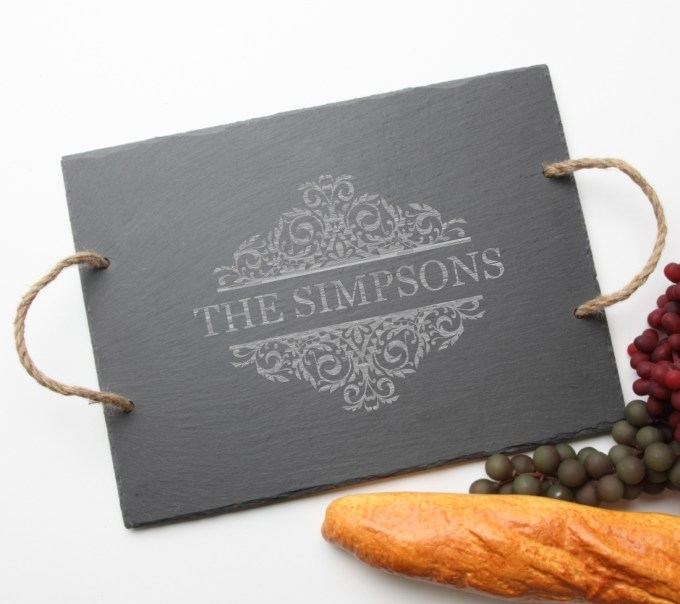 Personalized Slate Serving Tray Rope 15 x 12 DESIGN 39 SST-039