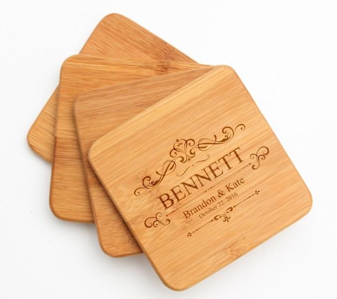 Personalized Bamboo Coasters Engraved Bamboo Coaster Set DESIGN 35 BCS-035