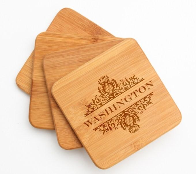 Personalized Bamboo Coasters Engraved Bamboo Coaster Set DESIGN 36 BCS-036