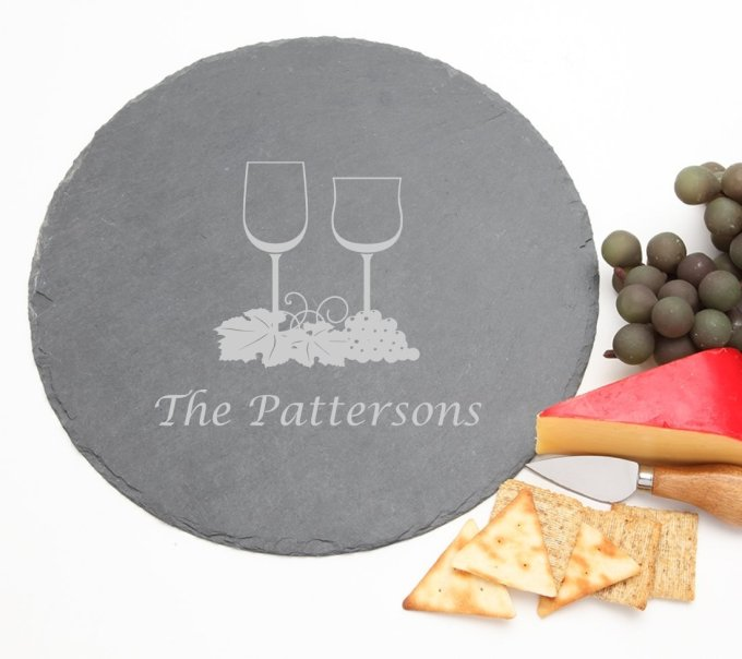 Personalized Slate Cheese Board Round 12 x 12 DESIGN 5 SCBR-005