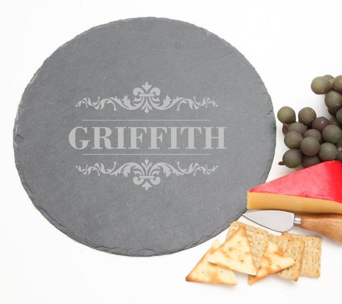 Personalized Slate Cheese Board Round 12 x 12 DESIGN 16 SCBR-016