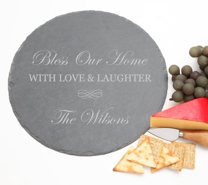 Personalized Slate Cheese Board Round 12 x 12 DESIGN 22 SCBR-022