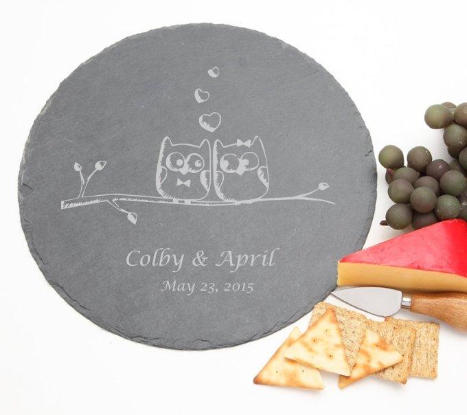 Personalized Slate Cheese Board Round 12 x 12 DESIGN 29 SCBR-029
