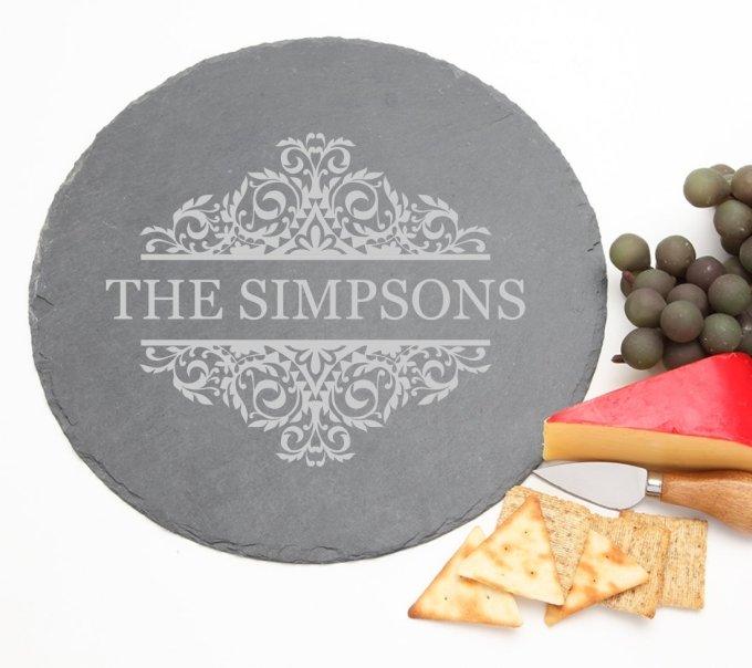 Personalized Slate Cheese Board Round 12 x 12 DESIGN 39 SCBR-039