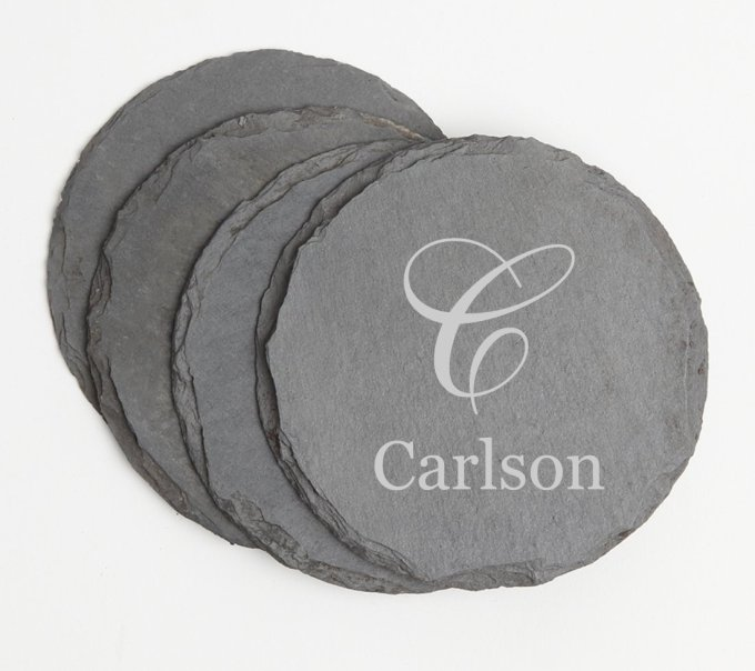 Personalized Slate Coasters Round Engraved Slate Coaster Set DESIGN 3 SCSR-003