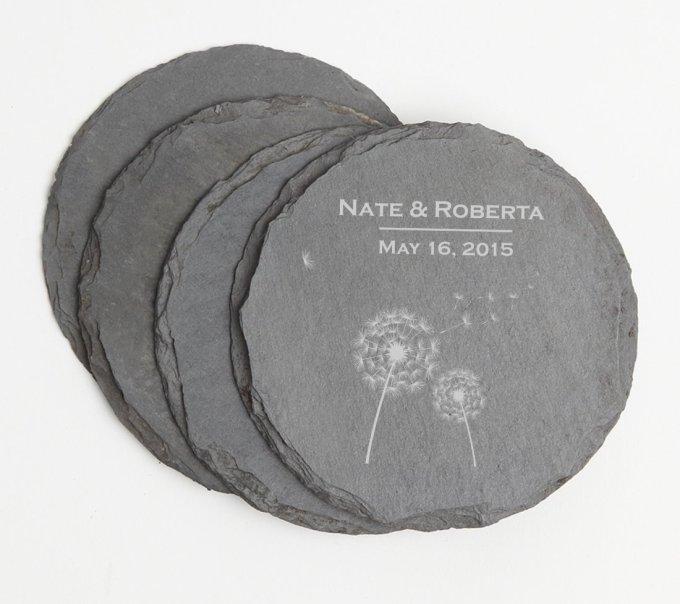 Personalized Slate Coasters Round Engraved Slate Coaster Set DESIGN 28 SCSR-028