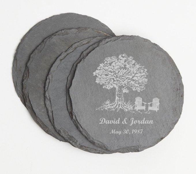 Personalized Slate Coasters Round Engraved Slate Coaster Set DESIGN 31 SCSR-031