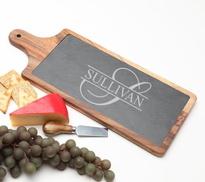 Personalized Cheese Board Slate and Acacia Wood 17 x 7 DESIGN 25 SCBA-025