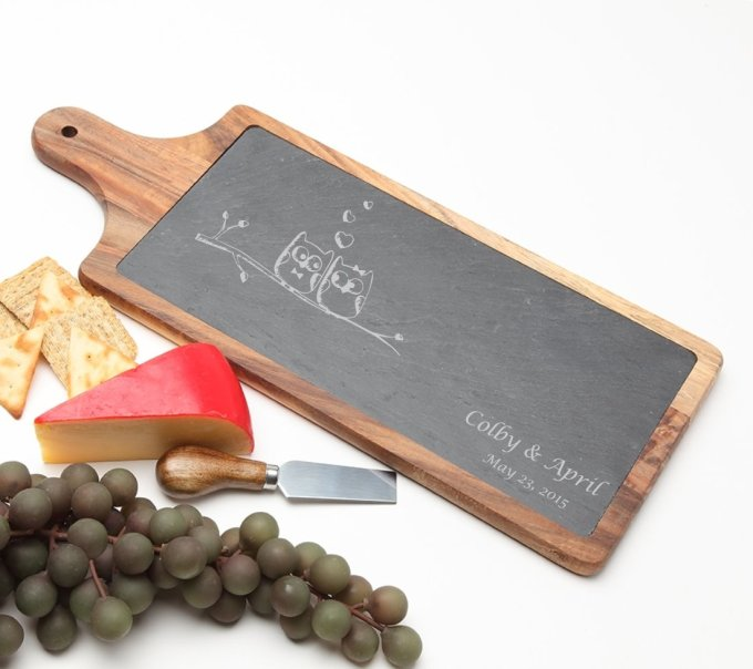 Personalized Cheese Board Slate and Acacia Wood 17 x 7 DESIGN 29 SCBA-029