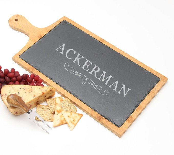Personalized Cheese Board Slate and Bamboo Wood 19 x 9 DESIGN 8 SCBB-008