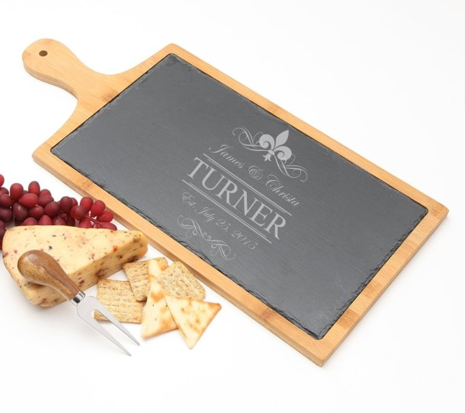 Personalized Cheese Board Slate and Bamboo 19 x 9 DESIGN 20 SCBB-020