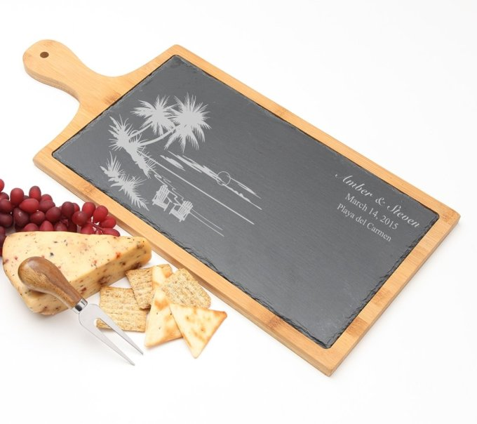 Personalized Cheese Board Slate and Bamboo 19 x 9 DESIGN 33 SCBB-033