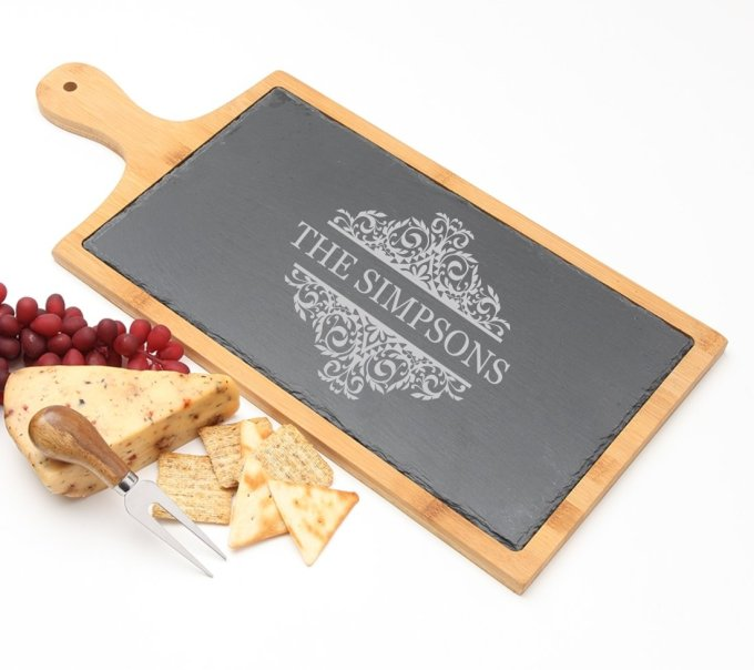 Personalized Cheese Board Slate and Bamboo 19 x 9 DESIGN 39 SCBB-039