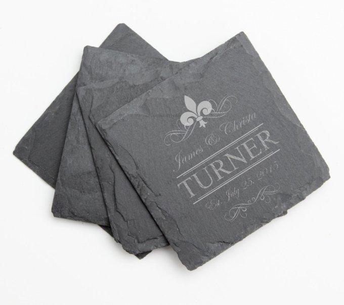 Engraved Slate Coaster Set