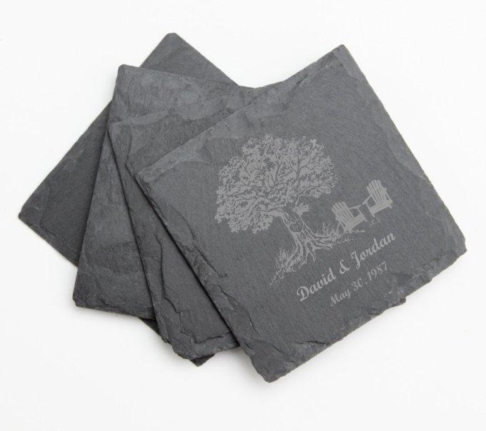 Engraved Slate Coaster Set of 4